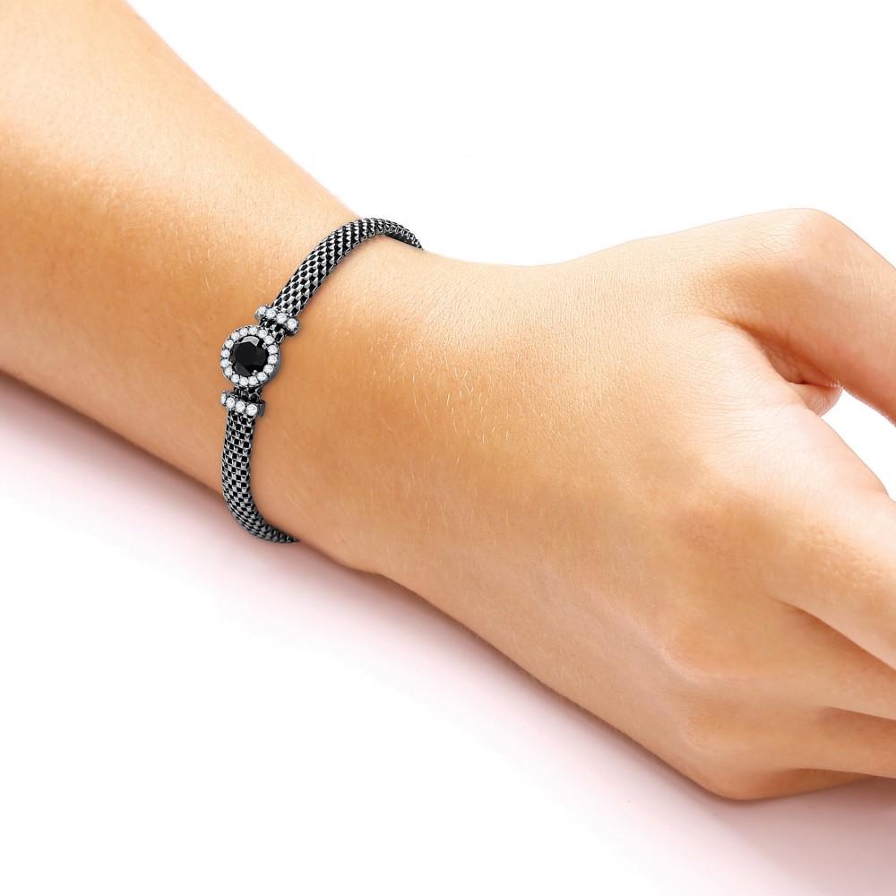 Fleur Ruthenium Plated Bracelet